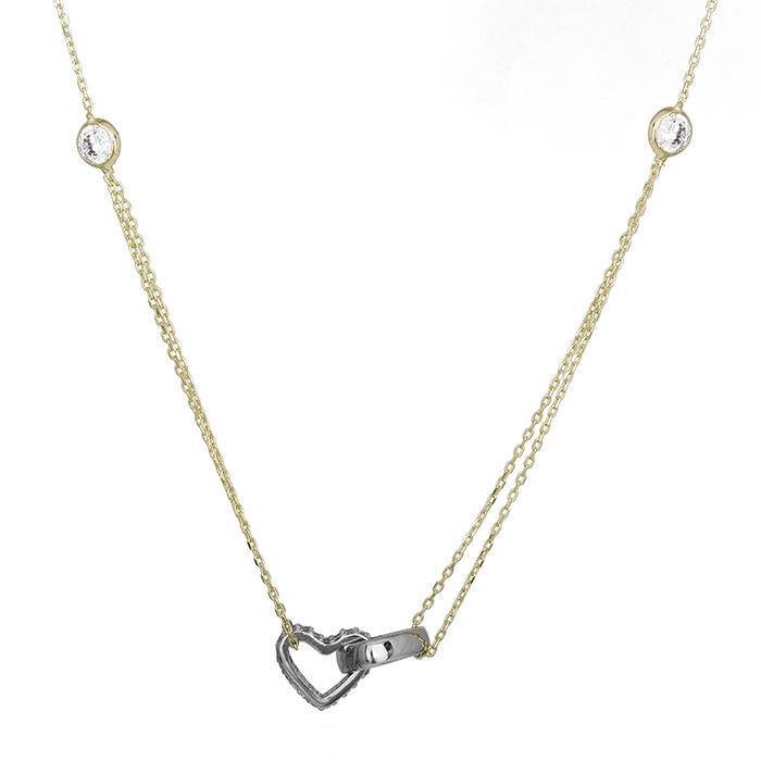 Γυναικείο δίχρωμο κολιέ Κ14 με καρδιές και πέτρες 028636 028636 Χρυσός 14 Καράτι χρυσά κοσμήματα κολιέ