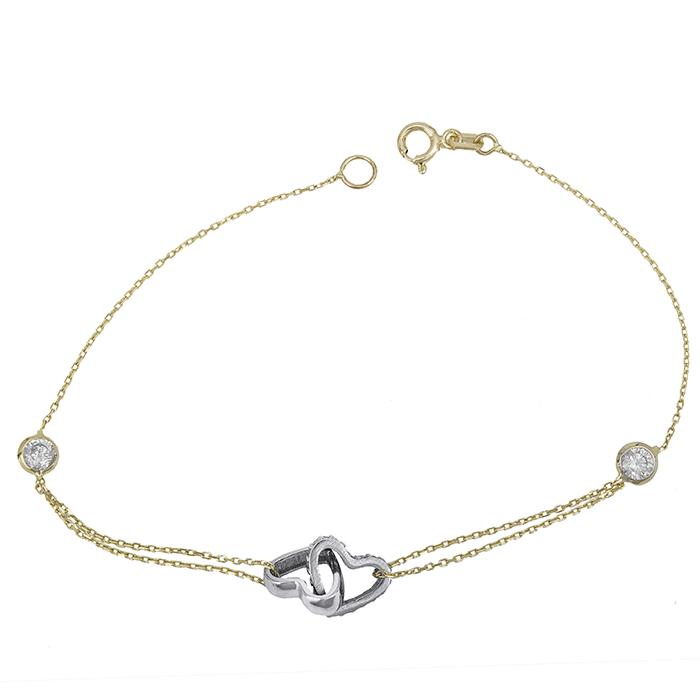 Βραχιόλι δίχρωμο Κ14 καρδιές με πέτρες 028639 028639 Χρυσός 14 Καράτια