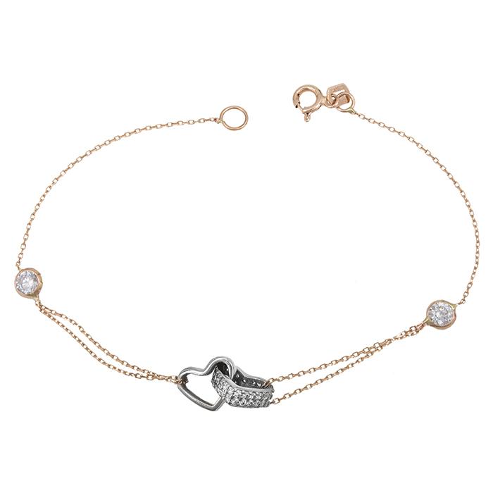 Γυναικείο βραχιόλι Κ14 δίχρωμο με καρδιές και πέτρες 028640 028640 Χρυσός 14 Καράτια