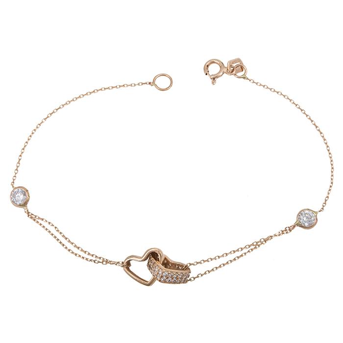 Ροζ gold βραχιόλι Κ14 με καρδιές και πέτρες 028641 028641 Χρυσός 14 Καράτια χρυσά κοσμήματα βραχιόλια