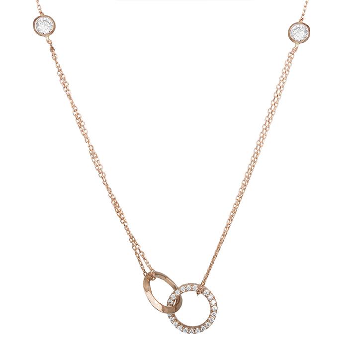 Γυναικείο κολιέ Κ14 ροζ gold με ζιργκόν 028643 028643 Χρυσός 14 Καράτια