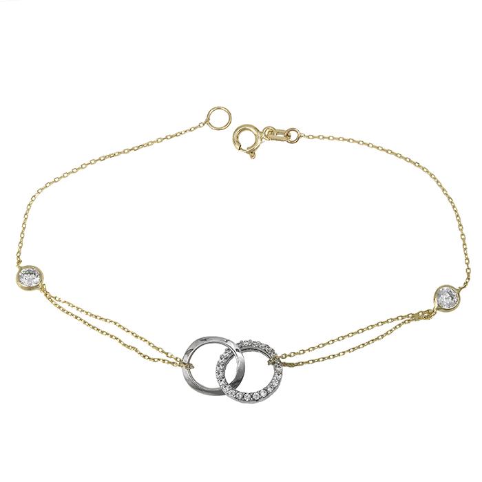 Δίχρωμο βραχιόλι γυναικείο Κ14 με ζιργκόν 028645 028645 Χρυσός 14 Καράτια