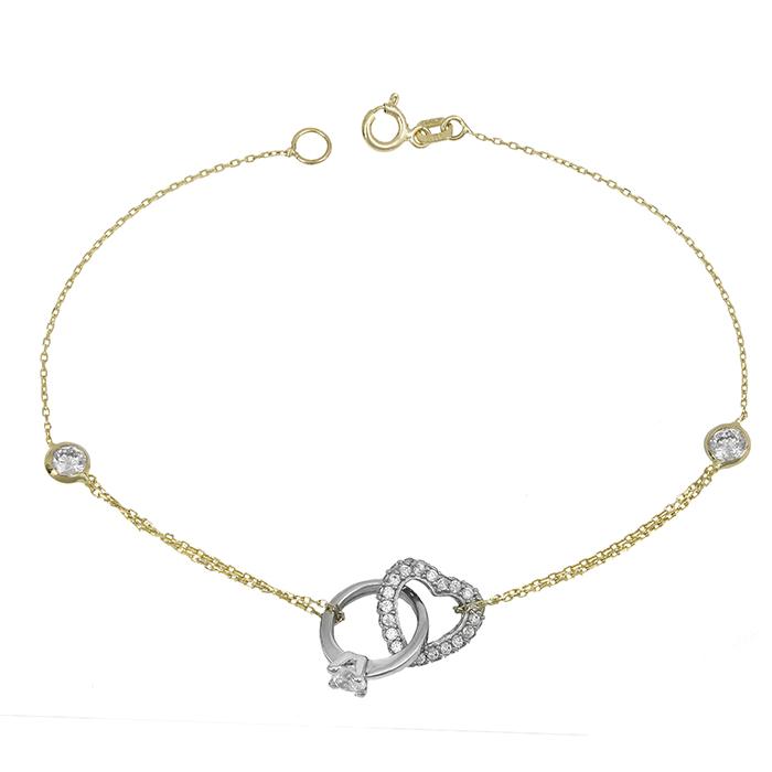 Βραχιόλι δίχρωμο Κ14 καρδιά με μονόπετρο λευκόχρυσο 028651 028651 Χρυσός 14 Καράτια
