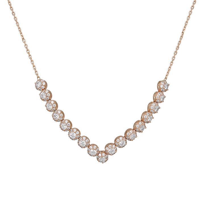 Γυναικείο κολιέ ροζ gold Κ14 ροζέτες με ζιργκόν 028654 028654 Χρυσός 14 Καράτια