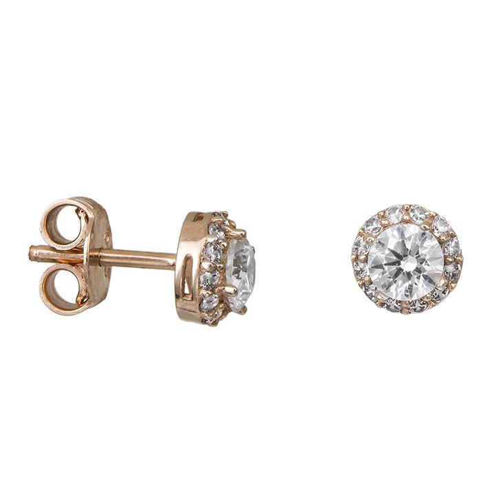 Σκουλαρίκια Ροζ gold Κ14 με ζιργκόν 028660 028660 Χρυσός 14 Καράτια