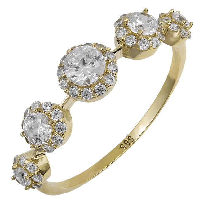 Χρυσό σειρέ δαχτυλίδι Κ14 ροζέτες 028664 028664 Χρυσός 14 Καράτια