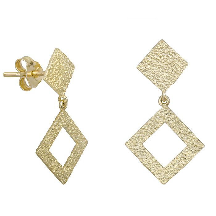 Χρυσά γυναικεία σκουλαρίκια ρόμβοι Κ14 028666 028666 Χρυσός 14 Καράτια