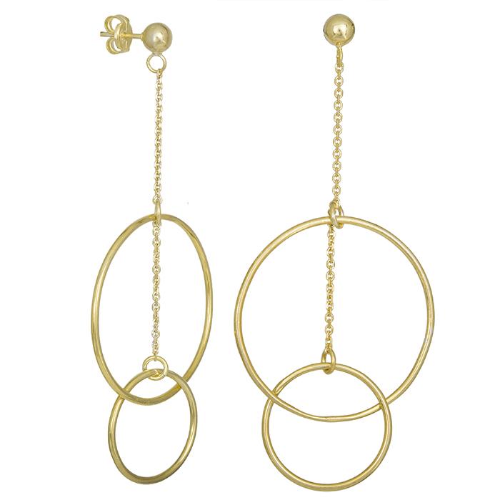 Επίχρυσα γυναικεία σκουλαρίκια ασήμι 925 κύκλοι 028680 028680 Ασήμι