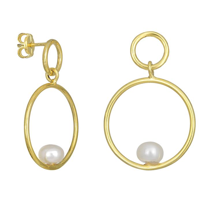 Επίχρυσα σκουλαρίκια ασήμι 925 με μαργαριτάρι 028681 028681 Ασήμι