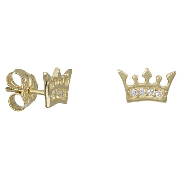 Χρυσά σκουλαρίκια Κ14 κορώνα με ζιργκόν 028693 028693 Χρυσός 14 Καράτια