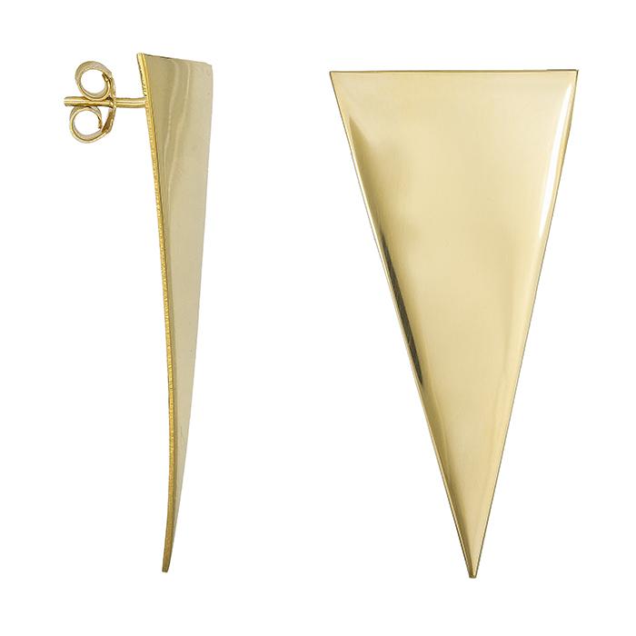 Επίχρυσα σκουλαρίκια 925 τρίγωνο 028702 028702 Ασήμι