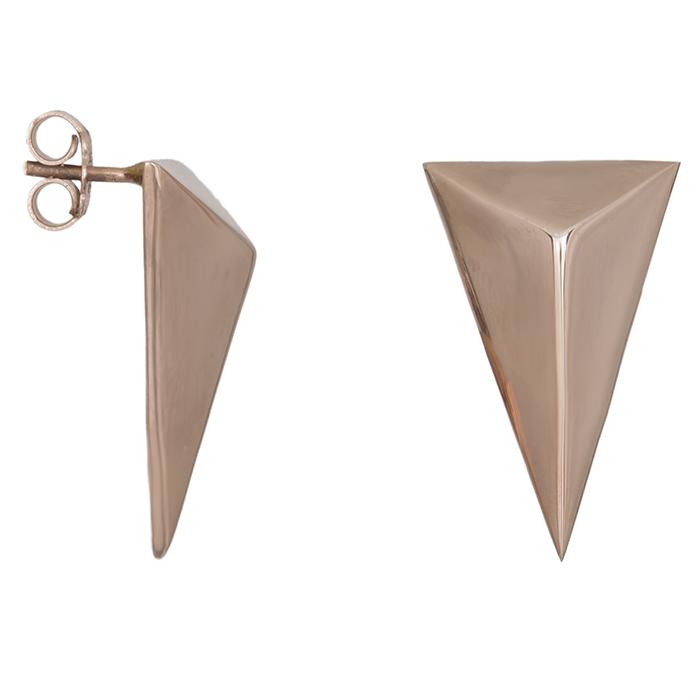 Ροζ επίχρυσα σκουλαρίκια 925 τρίγωνο 028704 028704 Ασήμι