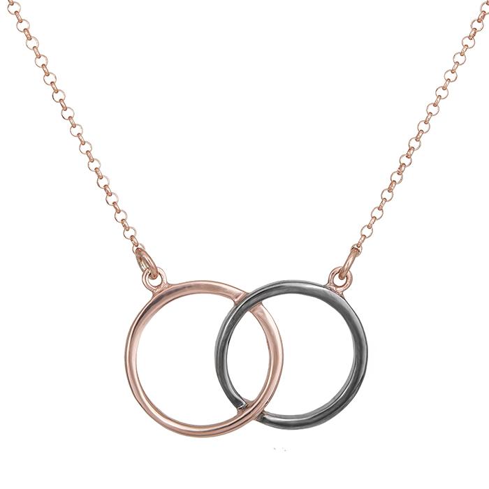 Γυναικείο κολιέ 925 δίχρωμοι κύκλοι 028725 028725 Ασήμι