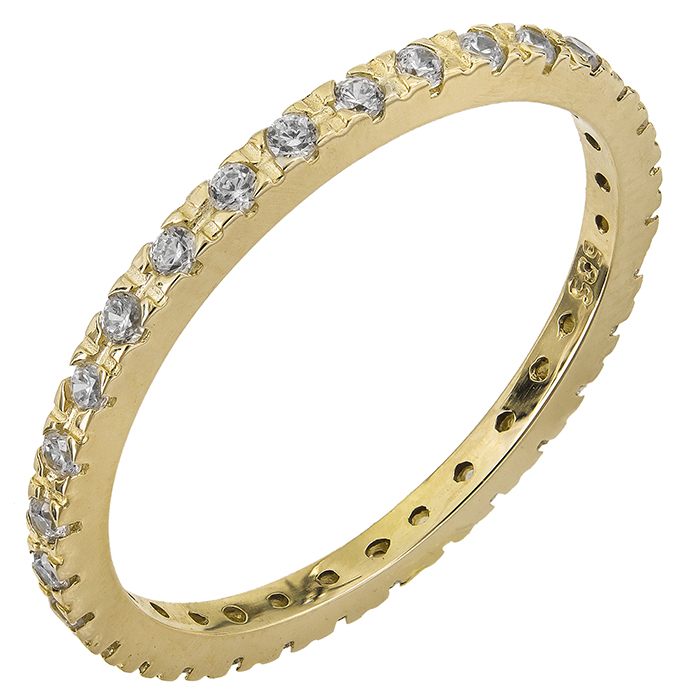 Χρυσό ολόβερο δαχτυλίδι Κ14 με ζιργκόν 028745 028745 Χρυσός 14 Καράτια