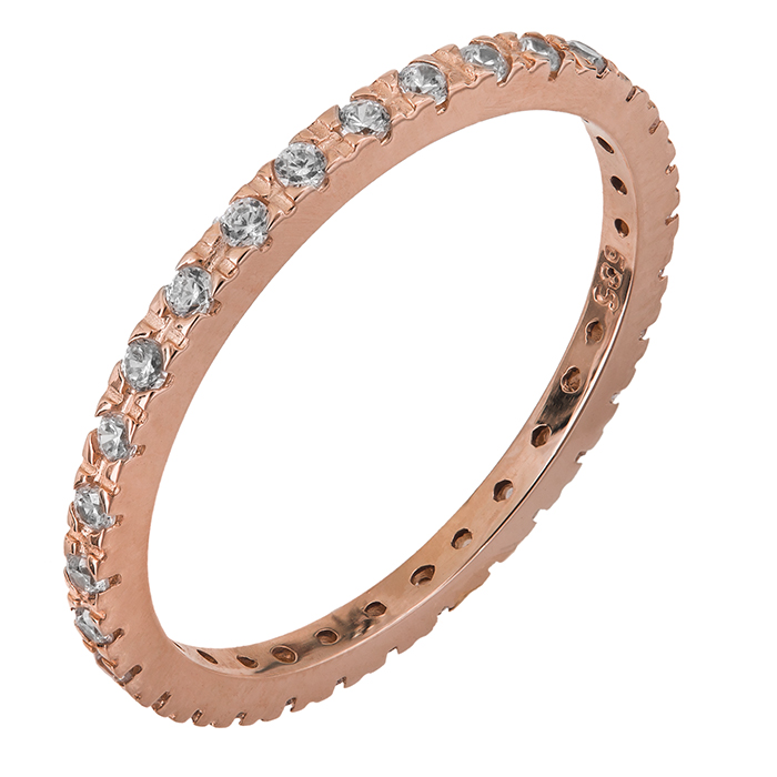 Ροζ χρυσό δαχτυλίδι Κ14 με ζιργκόν 028746 028746 Χρυσός 14 Καράτια