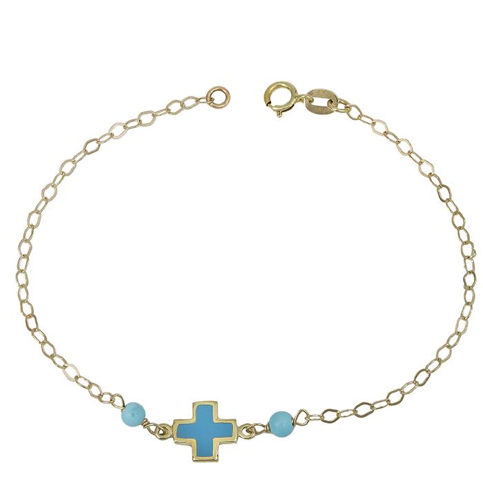 Βραχιόλι Κ9 με σταυρουδάκι μπλε 028830 028830 Χρυσός 9 Καράτια