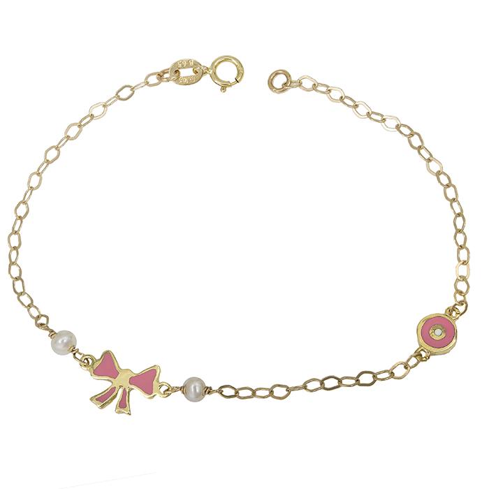 Παιδικό βραχιόλι Κ9 με φιογκάκι ροζ και ματάκι 028836 028836 Χρυσός 9 Καράτια