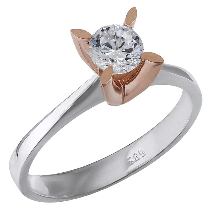 Δίχρωμο μονόπετρο Κ14 με ζιργκόν 028861 028861 Χρυσός 14 Καράτια χρυσά κοσμήματα δαχτυλίδια μονόπετρα