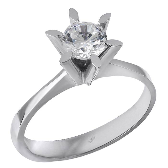 Λευκόχρυσο μονόπετρο Κ14 με ζιργκόν 028862 028862 Χρυσός 14 Καράτια χρυσά κοσμήματα δαχτυλίδια μονόπετρα