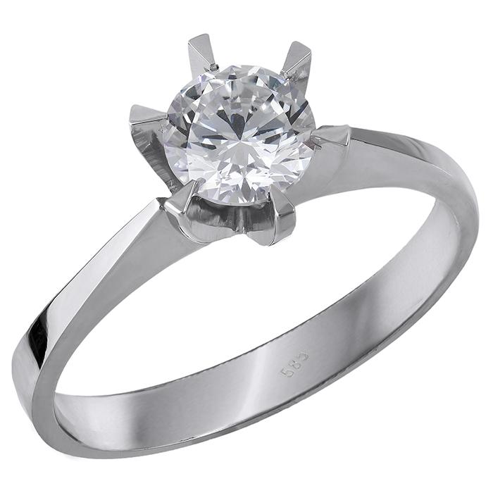 Μονόπετρο δαχτυλίδι Κ14 λευκόχρυσο με ζιργκόν 028863 028863 Χρυσός 14 Καράτια χρυσά κοσμήματα δαχτυλίδια μονόπετρα