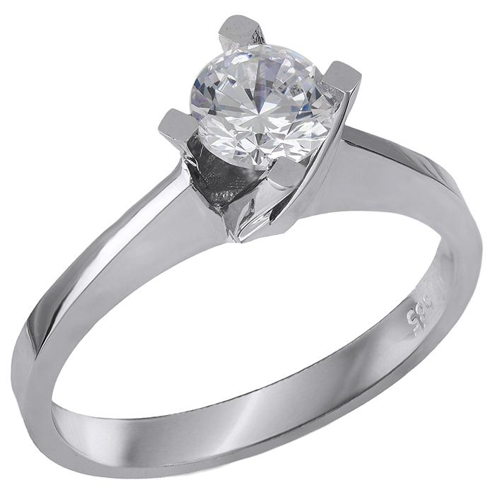 Λευκόχρυσο δαχτυλίδι Κ14 με ζιργκόν πέτρα 028865 028865 Χρυσός 14 Καράτια