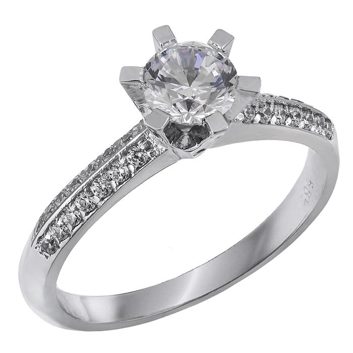 Μονόπετρο δαχτυλίδι Κ14 με πέτρες ζιργκόν 028866 028866 Χρυσός 14 Καράτια χρυσά κοσμήματα δαχτυλίδια μονόπετρα