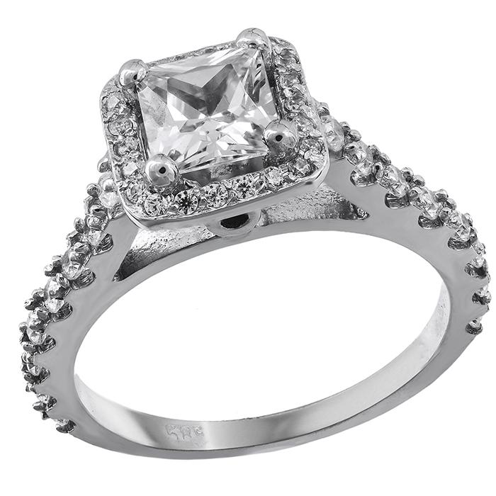 Λευκόχρυσο μονόπετρο Κ14 με πέτρες ζιργκόν 028868 028868 Χρυσός 14 Καράτια χρυσά κοσμήματα δαχτυλίδια μονόπετρα