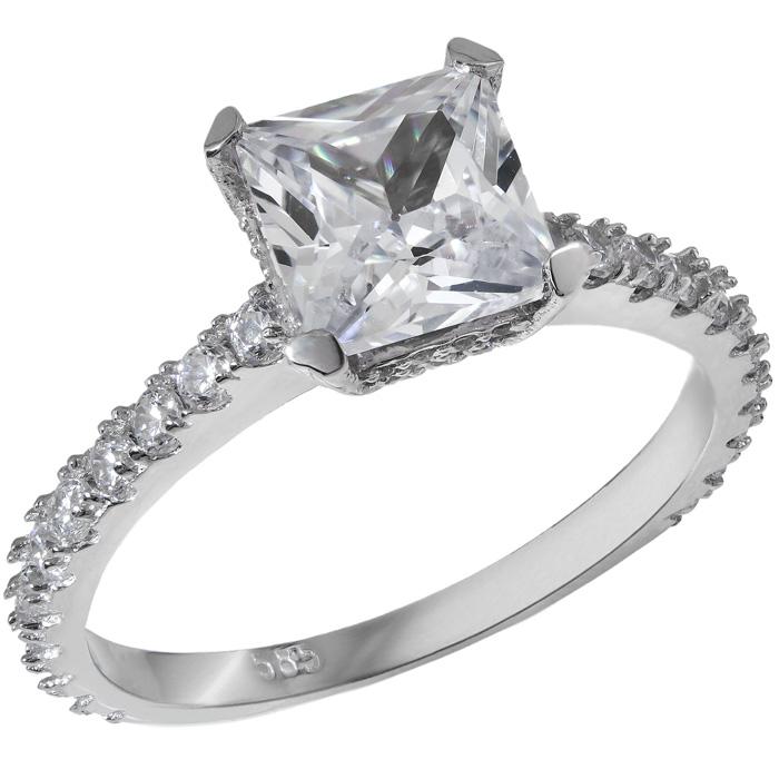 Λευκόχρυσο μονόπετρο Κ14 με πέτρες ζιργκόν 028868 028868 Χρυσός 14 Καράτια