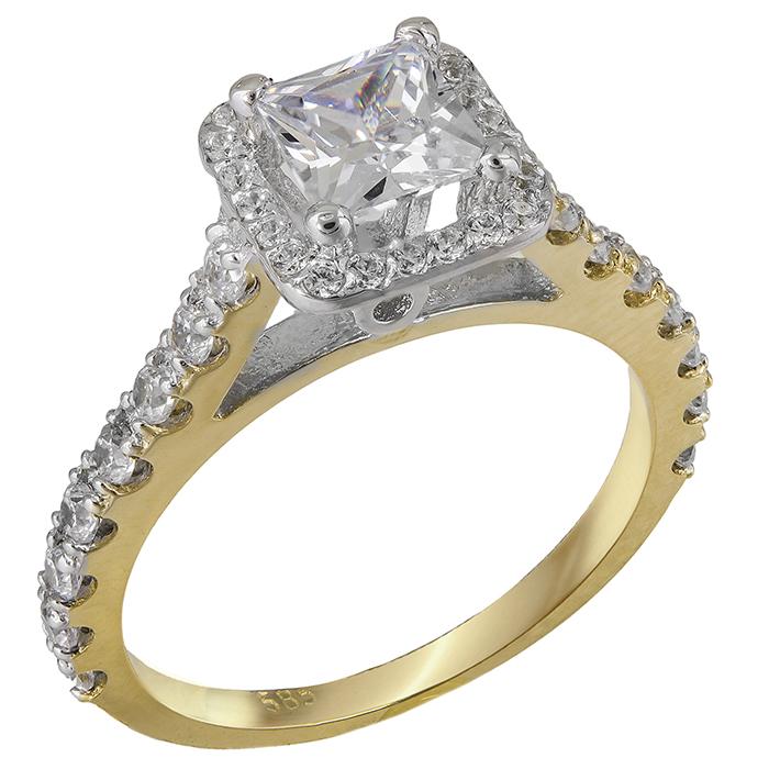 Δίχρωμο μονόπετρο δαχτυλίδι Κ14 με ζιργκόν 028870 028870 Χρυσός 14 Καράτια