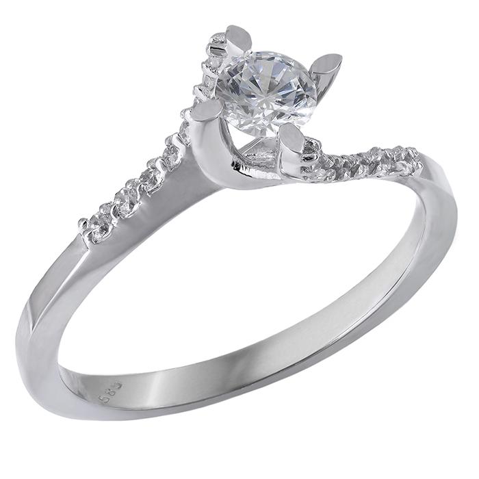 Λευκόχρυσο μονόπετρο δαχτυλίδι Κ14 με πέτρες ζιργκόν 028871 028871 Χρυσός 14 Καράτια