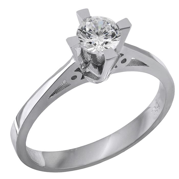 Χειροποίητο λευκόχρυσο δαχτυλίδι Κ14 μονόπετρο με ζιργκόν 028872 028872 Χρυσός 14 Καράτια