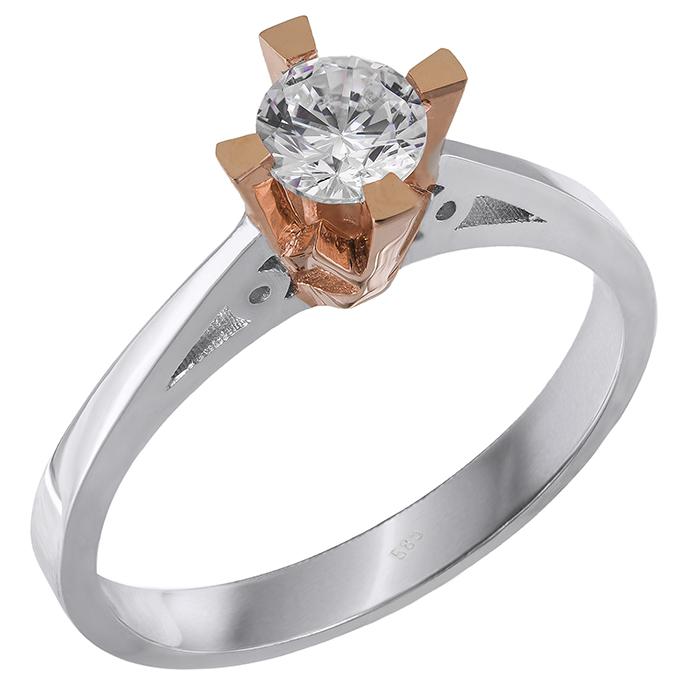 Δίχρωμο μονόπετρο Κ14 με ζιργκόν 028873 028873 Χρυσός 14 Καράτια χρυσά κοσμήματα δαχτυλίδια μονόπετρα