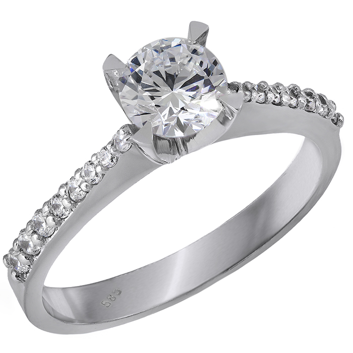 Λευκόχρυσο μονόπετρο Κ14 δαχτυλίδι με ζιργκόν 028874 028874 Χρυσός 14 Καράτια