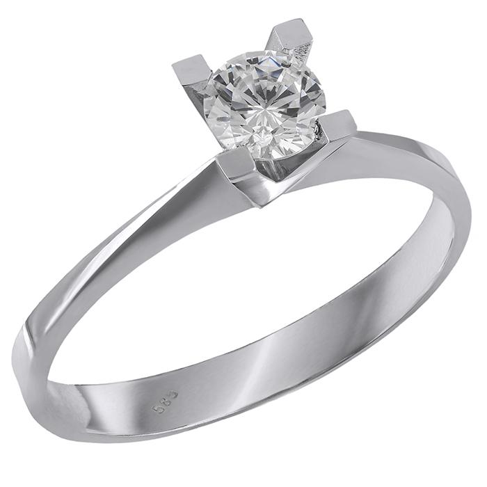Μονόπετρο δαχτυλίδι Κ14 λευκόχρυσο με ζιργκόν 028875 028875 Χρυσός 14 Καράτια χρυσά κοσμήματα δαχτυλίδια μονόπετρα
