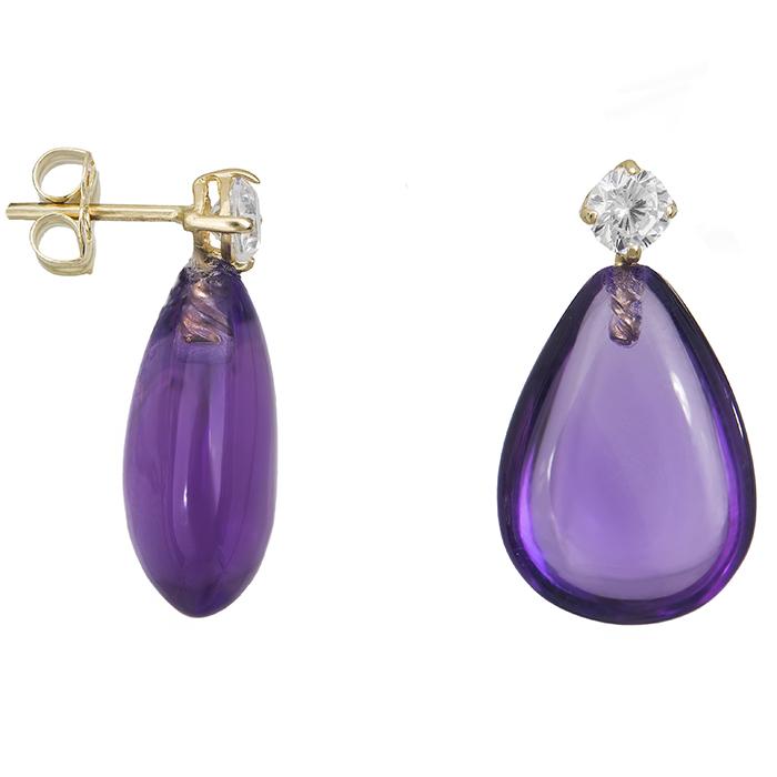 Γυναικεία σκουλαρίκια Κ14 με πέτρα αμέθυστο 028892 028892 Χρυσός 14 Καράτια