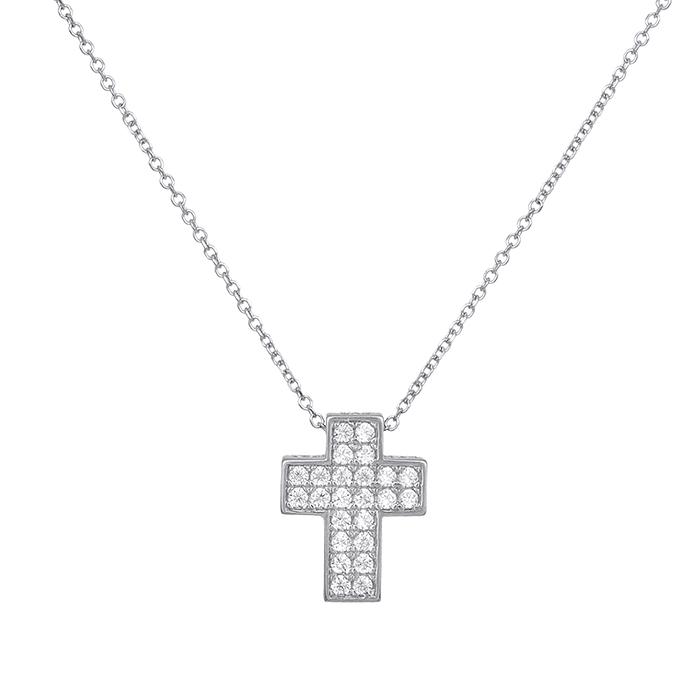 Κολιέ λευκόχρυσο Κ14 με πετράτο σταυρουδάκι 028904 028904 Χρυσός 14 Καράτια