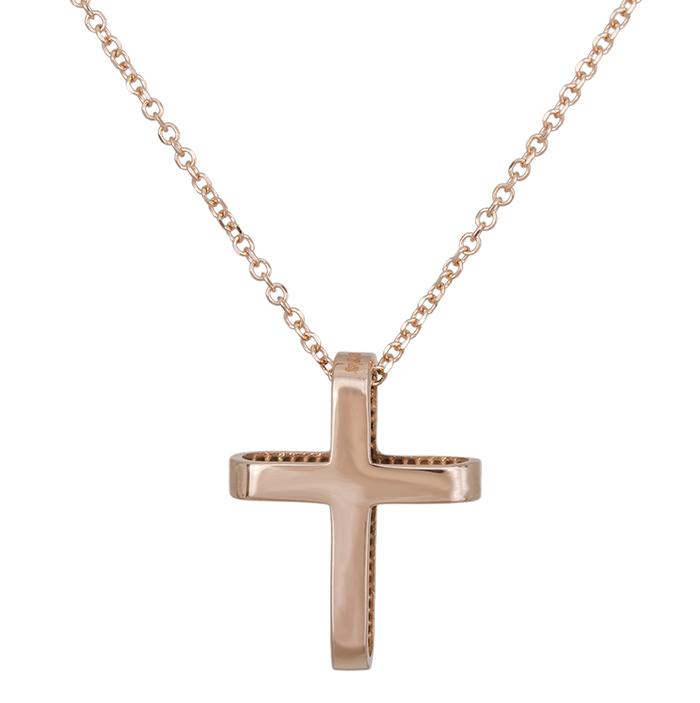 Γυναικείο ροζ gold K14 σταυρουδάκι 028907 028907 Χρυσός 14 Καράτια
