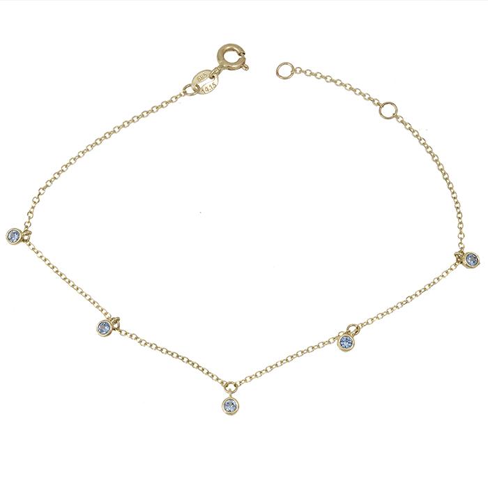 Γυναικείο βραχιόλι Κ14 με πέτρες ζιργκόν 028936 028936 Χρυσός 14 Καράτια