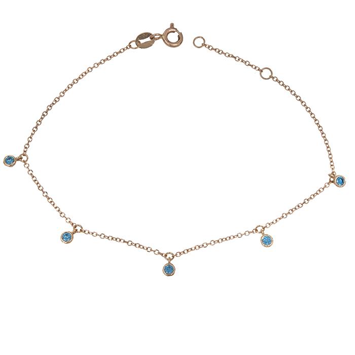 Γυναικείο βραχιόλι Κ14 ροζ gold με μπλε πέτρες 028938 028938 Χρυσός 14 Καράτια