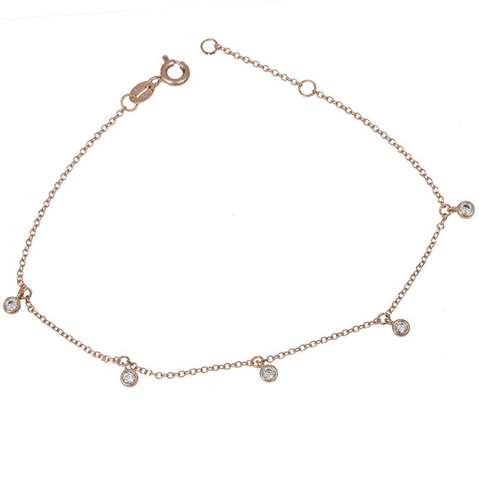 Ροζ gold βραχιόλι Κ14 με ζιργκόν 028940 028940 Χρυσός 14 Καράτια