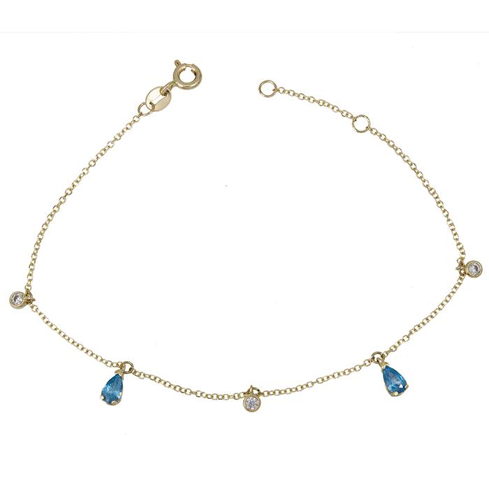 Γυναικείο βραχιόλι Κ14 με μπλε ζιργκόν 028941 028941 Χρυσός 14 Καράτια