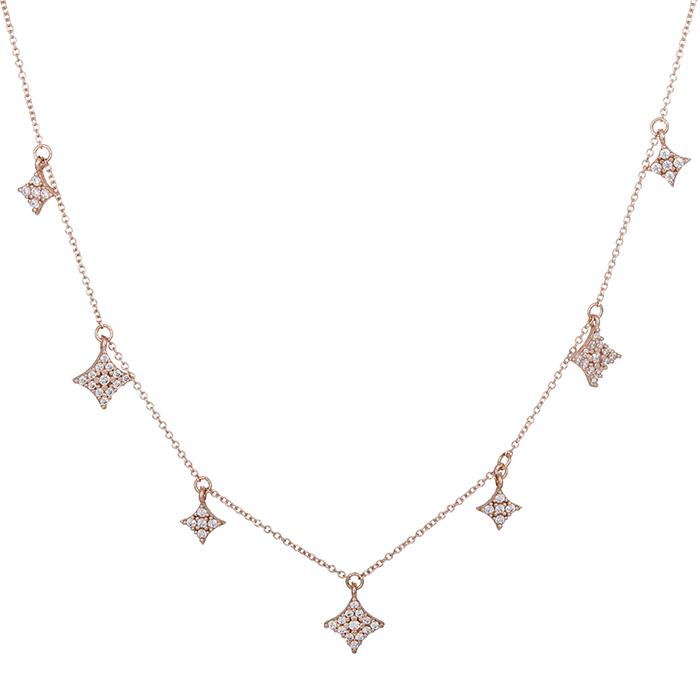 Ροζ gold κολιέ Κ14 με αστεράκια 028943 028943 Χρυσός 14 Καράτια