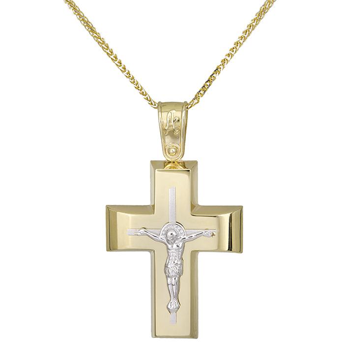 Βαπτιστικοί Σταυροί με Αλυσίδα Βαπτιστικός σταυρός με αλυσίδα Κ14 με τον Εσταυρωμένο 028947C 028947C Ανδρικό Χρυσός 14 Καράτια