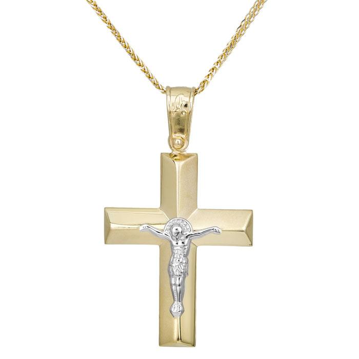 Βαπτιστικοί Σταυροί με Αλυσίδα Δίχρωμος σταυρός με αλυσίδα Κ14 με τον Εσταυρωμένο 028948C 028948C Ανδρικό Χρυσός 14 Καράτια