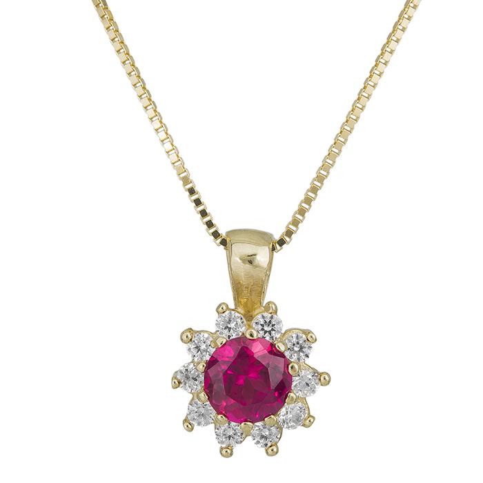 Χρυσό κολιέ Κ14 ροζέτα με κόκκινη πέτρα 028952 028952 Χρυσός 14 Καράτια