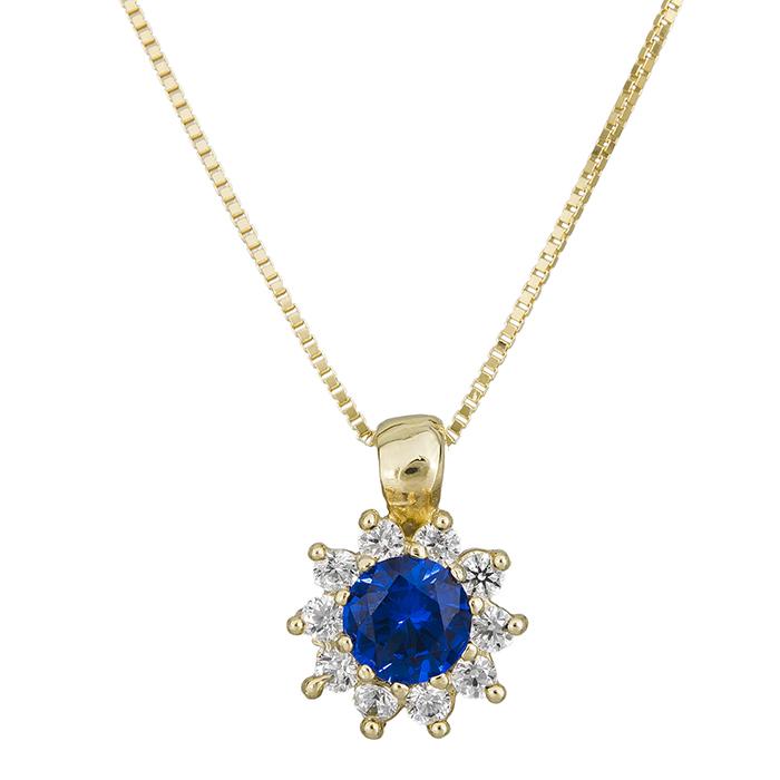 Κολιέ Κ14 ροζέτα με μπλε πέτρα και ζιργκόν 028954 028954 Χρυσός 14 Καράτια