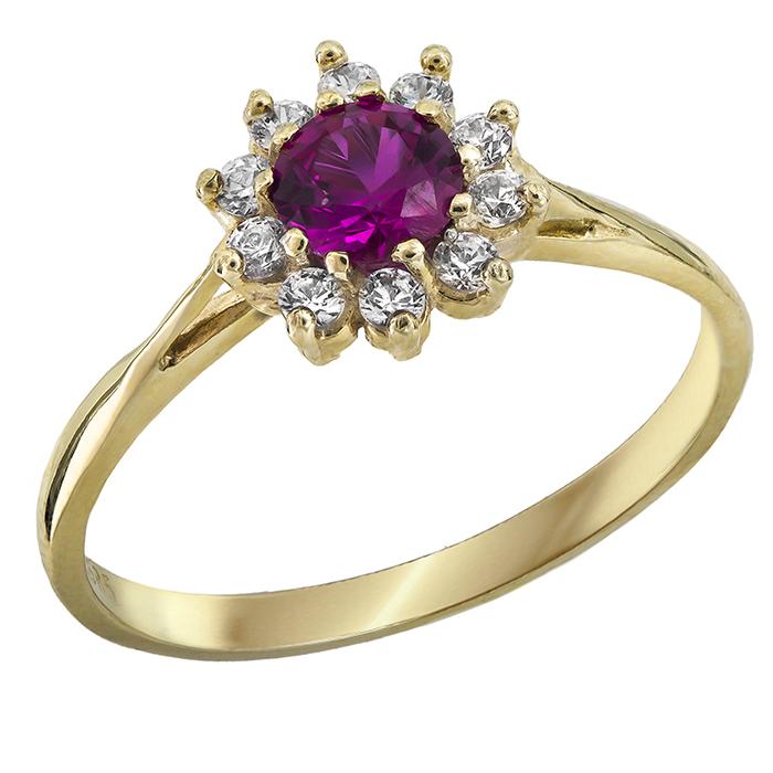 Δαχτυλίδι χρυσό Κ14 με ροζ πέτρα 028957 028957 Χρυσός 14 Καράτια