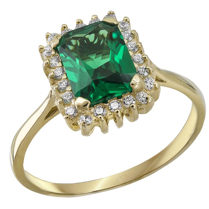 Χρυσό δαχτυλίδι Κ14 ροζέτα με πράσινη πέτρα 028958 028958 Χρυσός 14 Καράτια