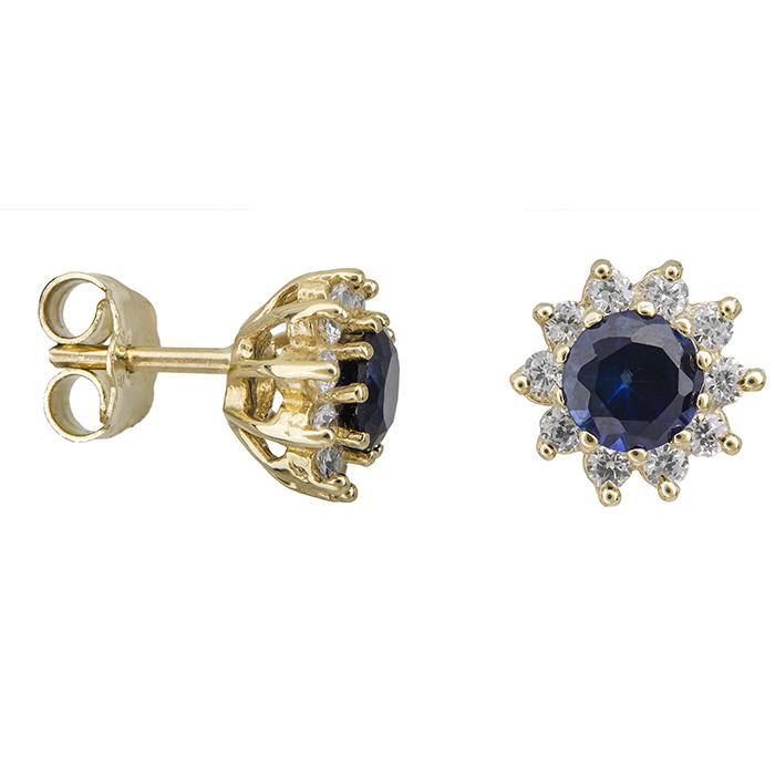 Γυναικεία σκουλαρίκια Κ14 ροζέτες με μπλε πέτρα 028961 028961 Χρυσός 14 Καράτια