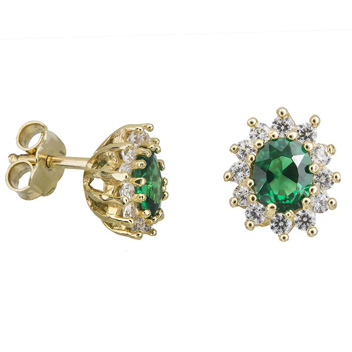 Γυναικεία σκουλαρίκια Κ14 ροζέτες με πράσινη πέτρα 028963 028963 Χρυσός 14 Καράτια